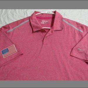 Sz L Pink NIKE Dri-FIT Golf Men Poly #217T Polo